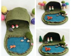 Hollow Log River Play Playscape Play Mat wool by MyBigWorld2015
