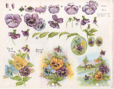 Gladys Galloway China Painting Study No 9 Pansies | eBay