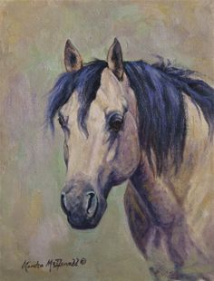Buckskin Stallion - This horse runs free on a ranch in Wyoming with a band of mares. Original Oil Painting Equine Art/Ranch Horses/Horses www.marshamcdonald.com