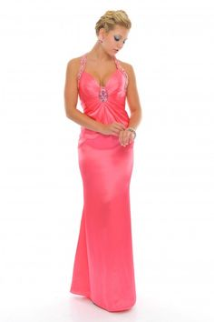 @Precious Formals P20846 Neon pink with broach in center #Prom #Dresses #IPAProm #Prom360