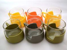 JAJ Pyrex Drink Ups coffee cups/mugs, set of Six 1960 Avocado Green - Orange - Yellow - Grey - Pyrex England