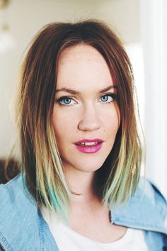Emma Chapman from A Beautiful Mess (with blue hair chalk)