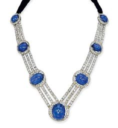 Seven cabochon sapphires within a circular-cut diamond surround to the triple-row square-shaped and old-cut diamond necklace with black velvet back, dating from circa 1915