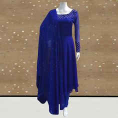 Buy Exotic Royal Blue Colored Partywear Pearl Work Stitched Georgette Churidar Suit for women's wear online India, best prices, affordable prices, best price online, Reviews - Peachmode Blue Colour Suit, Blue Contrast Color, Dress Colour, Royal Blue Long Dress, Royal Blue Suit, Blue Suits, Indian Fashion Dresses, Indian Gowns Dresses, Frock Fashion