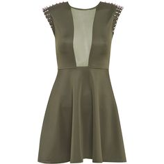 Khaki Stretch Jewel Skater Dress ($20) ❤ liked on Polyvore featuring dresses, vestidos, robes, spiked dress, keyhole dress, jeweled dress, mesh inset skater dress and mesh insert skater dress