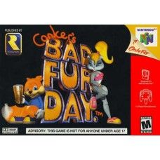 """R.U. Game? - Conker's Bad Fur Day - N64 - USED: The game once known as Twelve Tales: Conker 64 has undergone several changes throughout its development cycle. Rare initially designed the game to be an adorable 3D platformer in the mold of Banjo-Kazooie. Then, in May 2000, the company revealed that the game had taken a decidedly different turn. The previously harmless game, renamed Conker's Bad Fur Day, would now carry a """"Mature"""" rating by the ESRB."""