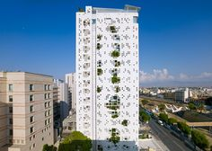Jean Nouvel's Cyprus tower has plants bursting through its walls