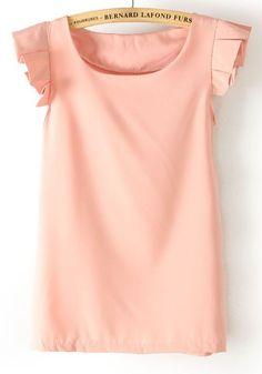 Pink Falbala Round Neck Sleeveless Chiffon Blouse