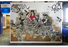 Untitled by artist Swoon: linoleum cut, newsprint, ink, and wheat paste. 2005