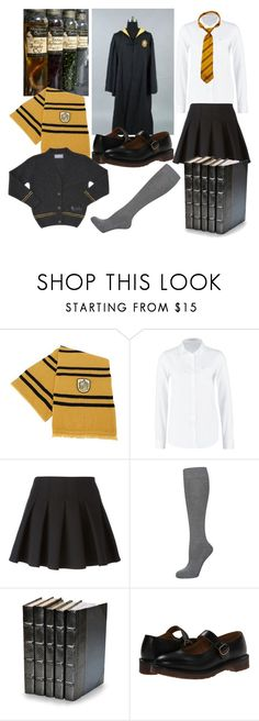 """""""Hufflepuff uniform (girls)"""" by chiroptera-nyxx ❤ liked on Polyvore featuring Lee, Alexander Wang, Falke, Decorative Leather Books, Dr. Martens, hogwarts, Hufflepuff and potions"""