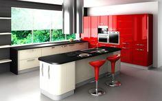 Cuisine grise et rouge avec placards blancs