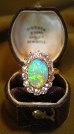 ANTIQUE VICTORIAN RING WITH 2.45 CARATS OLD MINERS CUT DIAMONDS! 14K HUGE 6.05 CARATS DIAMOND & SOLID SEMI-BLACK OPAL RING & BOX