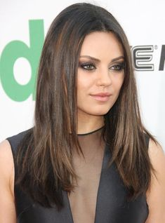 The Most Flattering Hairstyles Ever: Mila Kunis Hair: Long, Straight Hair is Very Flattering on a Round Face