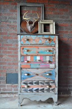 Painted furniture painted dresser tribal art by BlackSheepMill, $300.00
