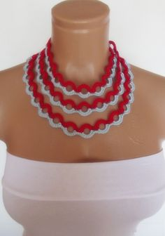 hand crochet  lariat scarf necklace red baby by sultanofcolours, $15.90