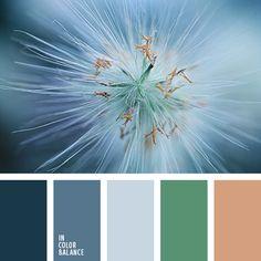 dusky medium blue, cornflower blue, silver, grass green & pinkish-tan