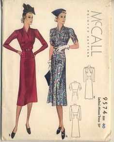 McCall 9574 | 1938 Ladies & Misses Dress
