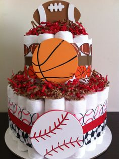 Items similar to 2 Tier Sports Diaper Cake, Boy Baby Shower, Baby Shower Centerpiece, Sports Baby Shower, Football Basketball on Etsy