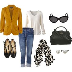 inspiration. my mustard cardigan with jeans and black flats with my black n' white scarf (similar to this one). i got this. haha.