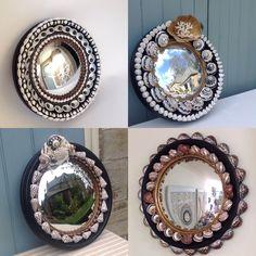 Shelled convex mirrors Convex Mirror, Stuffed Shells, Interior Accessories, Sea Shells, Shell Mirrors, Shelled, Frames, Design, Home Decor