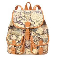 [Feels Young]Columbus Voyage Series Map Orange Backpack Synthetic Leather Handbags $149.00