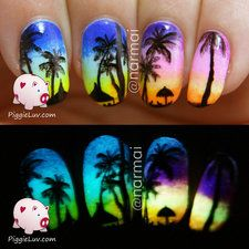 Tropical beach at sunset (glow in the dark) + video tutorial.  Could do with mood nail polish too