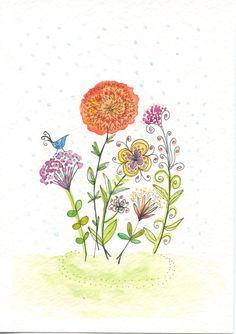 Original Watercolor Art - Flowers 5x7