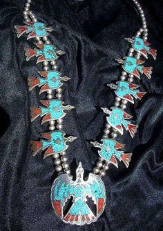 Vintage RARE Tommy Singer Sterling Silver Turquoise Waterbird NECKLACE Native US - http://elegant.designerjewelrygalleria.com/tommy-singer/vintage-rare-tommy-singer-sterling-silver-turquoise-waterbird-necklace-native-us/