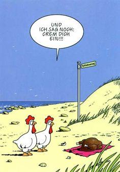 Cartoon Postkarten mit lustigen Sprüchen – Und ich sag noch: Crem dich ein!!! Postkarten Cartoon