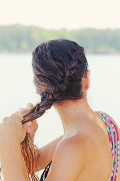 Braid your hair into a casual side plait for a casual, beachy look. // #hair #tips