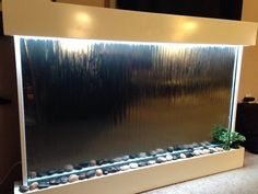 "wall waterfall xxl 52""x35"" mirror , color lights remote ctrl"
