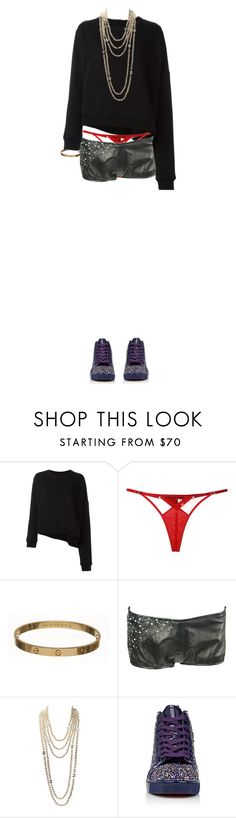 """""""Kylie."""" by didjazaw ❤ liked on Polyvore featuring MM6 Maison Margiela, Bordelle, Cartier, Chanel and Christian Louboutin"""