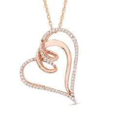 1/6 CT. T.W. Diamond Looping Tilted Heart Pendant in 10K Rose Gold