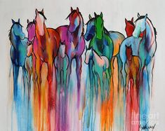 Rainbow Horses Painting by Cher Devereaux #artpainting #watercolorarts