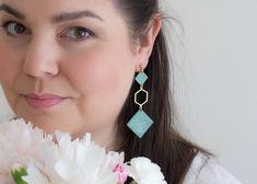 Long gold hexagon geometric earrings Mint granite natural | Etsy Earrings Photo, Pink Earrings, Dangle Earrings, Powder Pink, Beautiful Gift Boxes, Ear Studs, Earrings Handmade, Granite, Jewelry Box
