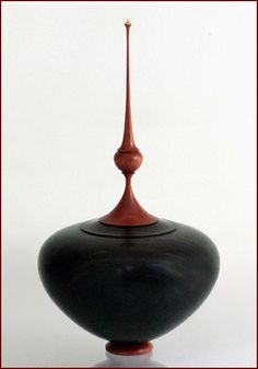 "Macassar Ebony and Pink Ivory Wood, 10"" H x 5.5"" dia., by Cindy Drozda"