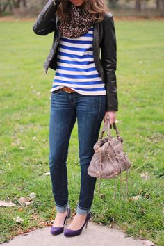stripes and faux leather -- I wouldn't wear leather but maybe an army green jacket instead. Cute oufit!
