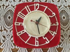 Vintage Wall Clock Mid Century G. E. Clocks Red by ClassicStash