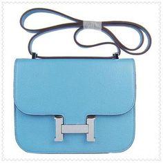 Hermes Constance Shoulder Sac Baby Blue Silver H0087179
