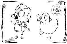 Sarah & Duck dancing coloring page!