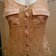 Be be lace shirt A great blush colored sheer snap front shirt. bebe Tops Button Down Shirts