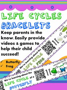 "Life Cycle Homework with QR codes for fun Science practice at home.  Send these printable ""We're learning about life cycles"" bracelets home on students after beginning the frogs and butterflies unit in class. Includes QR code links to fun review videos to practice life cycle concepts and simple family games to practice butterfly & frog life cycle vocabulary in the home!"