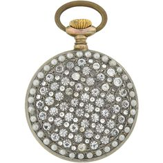 Late Victorian Sterling French Paste & Pearl Pocket Watch..