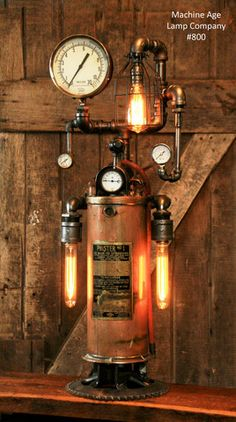 Steampunk Industrial Antique Fire Extinguisher Lamp - #800