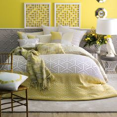 Linen house have sweet quilt cover sets, I really like everything in this picture! This is the saffron yellow, white and grey quilt cover set. Slightly graphic / aztec patterns