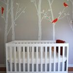 I love the negative space idea with the trees trunks.  Cute variation on my plan for Ava's room.  Worth considering.
