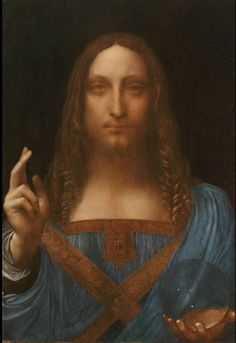 Lost painting by Leonardo da Vinci recently discovered and restored. I'm fascinated that he carries a crystal ball - other religious art often has wooden balls in the hands of Christ or the Madonna, but I'd not seen crystal before. Representing the world/the future/the universe? Who knows...