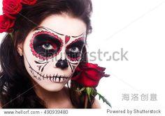 Day of the dead. Halloween. Young woman in day of the dead mask skull face art and rose. Isoleted om white. - 假期,美容/时装服饰 - 站酷海洛创意正版图片,视频,音乐素材交易平台 - Shutterstock中国独家合作伙伴 - 站酷旗下品牌