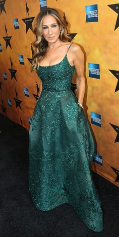 Sarah Jessica Parker in a glittery emerald gown.