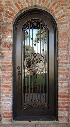 Beautiful, Hand-Crafted, 12 Gauge Wrought Iron Entry Door 32 x 96 House Entrance, Entrance Doors, Mediterranean Doors, Custom Wood Doors, Wrought Iron Doors, Iron Gates, Interior Barn Doors, Sliding Glass Door, Door Design